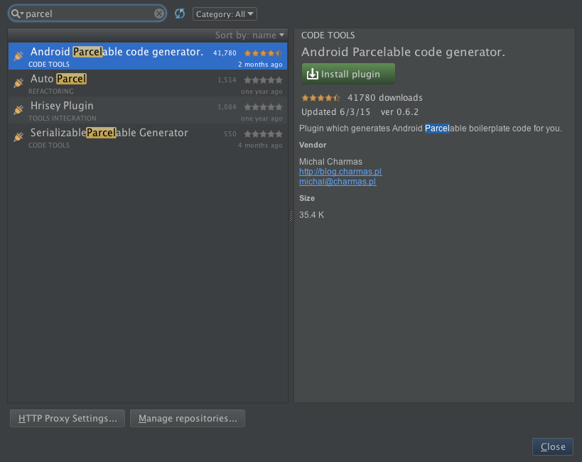Quickly Create Parcelable Class in Android Studio